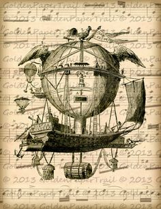 Hot Air Balloon on Antique Sheet Music by GoldenPaperTrail on Etsy Steampunk