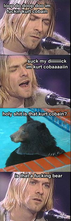 Yogi Bear takes a naked dip dive in the pool.