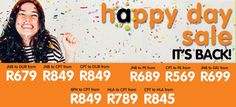 Mango Airlines just launched the Happy Days Sale with some amazing deals you will be crazy not to take advantage of. Make sure you don't miss out on these amazing flight specials. Tickets can be booked from 09h00 on 6 May 2015 to 21h00 on 7 May 2015 Travel period is valid between the 6 May 2015 to the 30 June 2015