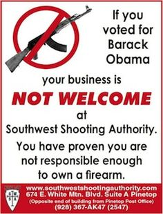 Arizona Gun Store Refuses To Sell Guns To Anyone Who Voted For Obama