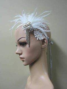 Light ivory lace and ivory ostrich feather 1920s Great Gatsby headpiece