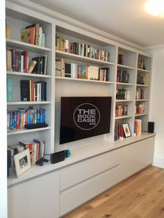 Tv Bookcase Wall Unit Unique Media Furniture Family Room In 2019 Bookcase With Drawers, Living Room Bookcase, Wall Bookshelves, Living Room Storage, Built In Bookcase, Home Living Room, Living Room Designs, Alcove Ideas Living Room, Built In Tv Cabinet