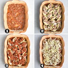 how to assemble beef stuffed shells Stuffed Shells Recipe, Stuffed Pasta Shells, Ground Beef Stuffed Shells, 30 Min Dinner, Individual Appetizers, Lazy Lasagna, Easy Casserole Recipes, One Pot Meals, Freezer Meals