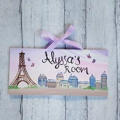Because Paris is always a good idea 💕  All of my name signs are hand painted with love and feature your child's name!