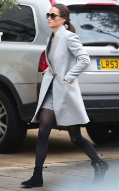Pippa Middleton in a gray jacket and tights - click through to see more celebrity winter outfits