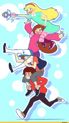 mike inel,mikeinel,Gravity Falls,фэндомы,Star vs the forces of evil,crossover,Star Butterfly,Mabel Pines,GF Персонажи,Dipper Pines,Marco Diaz,GF art