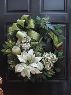Christmas Wreath Winter Wreath Front Door Wreath by FunFlorals