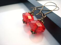 Red Drop Earrings, Antique Brass Earrings, Vintage Inspired, Crystal Earrings, Red Earrings, Cherry Red Earrings on Etsy, $10.00