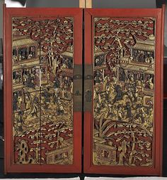 Chinese Antique Lacquered Wood Doors  Pair antique Chinese carved, lacquered and gilt wood cabinet doors:early 19th century