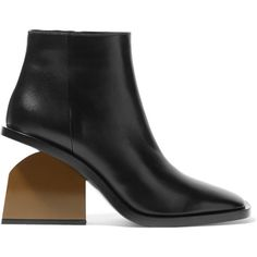Marni Leather ankle boots ($865) ❤ liked on Polyvore featuring shoes, boots, ankle booties, black, short black boots, high heel booties, cut out booties, black high heel booties and black bootie