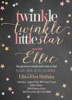 Twinkle Twinkle Little Star Girl Birthday by RachellesPrintables
