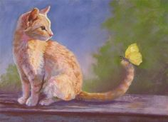 "Daily Paintworks - ""Kitty with Butterfly"" by Ruth Mann"