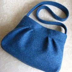 Peacock Blue JASPER Handbag Upcycled Felted Sweater by FeltSewGood