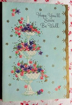 Vintage 1950s UNUSED Embossed Get Well Greeting Card Tiered Floral Centerpiece