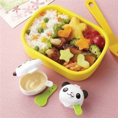 bento box lunch Mini Sauce Containers 2 cute mini containers with attached spoon with pandas 2 different sizes perfect to take sauces, fruit, mayonnaise, mustard, soy sauce etc. with yo Bento Box Lunch For Kids, Lunch To Go, Lunch Boxes, Bento Recipes, Lunch Box Recipes, Work Meals, Kids Meals, Japanese Bento Box, Kawaii Bento