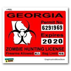 Georgia GA Zombie Hunting License Permit