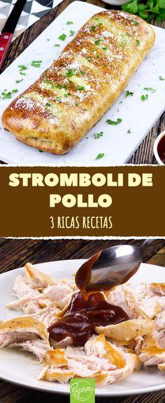 ¡Descubre tres variantes del stromboli de pollo! Ñam, ñam #receta #pollo #stromboli #pizza #masa #horno #barbacoa #bbq #jamón #queso #parmesano #tapenade #aceitunas #tomillo #jamóndeparma #rúcola #pesto #mozzarella