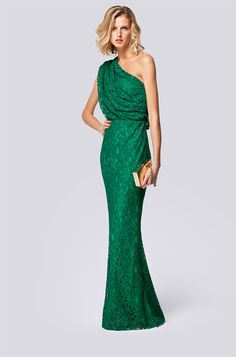 Bold kelly green gown for a night out.   CH Collection Spring 2013 Women