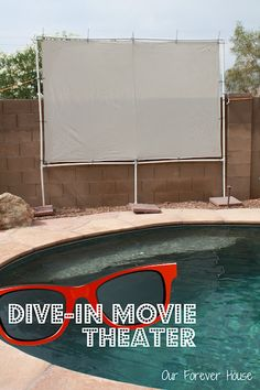 DIY Pool Party Ideas - Dive In Movie Theater - Easy Decor Ideas for Pools - Best Pool Floats, Coolers, Party Foods and Drinks - Entertaining on A Budget - Step by Step Tutorials and Instructions - Summer Games and Fun Backyard Parties # # Backyard Movie Screen, Backyard Movie Theaters, Backyard Movie Nights, Outdoor Movie Nights, Dive In Movie, Pool Movie, Movie Party, Party Fun, Perfect Party