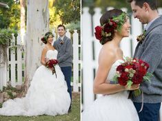 winter flower crown = oh my goodness, just LOVE the warm berry colours in this wedding !