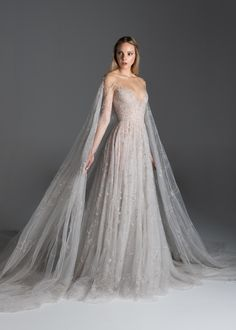 Flâner — lacetulle: Paolo Sebastian Paolo Sebastian Bridal, Bridal Gowns, Wedding Gowns, Wedding Dress Cape, Fantasy Wedding Dresses, Fantasy Gowns, Tulle Gown, Cape Dress, Prom Dresses