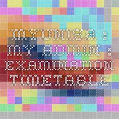 myUnisa : My Admin : Examination Timetable