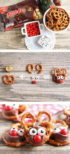 Rolo Pretzel Reindeer Rolo Pretzel Reindeer - these tasty treats are perfect for the holiday season and so easy to make! Rolo Pretzel Reindeer Rolo Pretzel Reindeer - these tasty treats are perfect for the holiday season and so easy to make! Christmas Snacks, Xmas Food, Christmas Cooking, Christmas Goodies, Christmas Candy, Christmas Pretzels, Christmas Lunch Ideas, Christmas Reindeer Cookies, Holiday Desserts