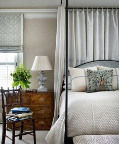 We're loving the calm and collected look of this bedroom, designed by Jackye Lanham.