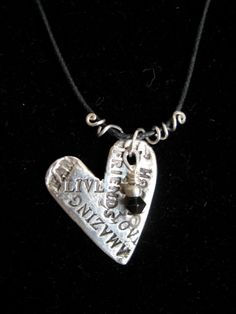 Words to Live By Silver Heart Pendant by arborcreek on Etsy