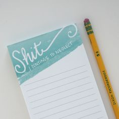 """This little notebook is perfect for writing down those things that you almost just forget. It may or may not keep you on track, but it will make you laugh. Reads: """"Shit I Continue to Neglect""""  Material: Paper Size: 100 sheets per pad, 3.5"""" x 7"""""""