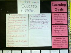 A classroom example of an assessment for learning display. The co-creation of success criteria is evident as well.