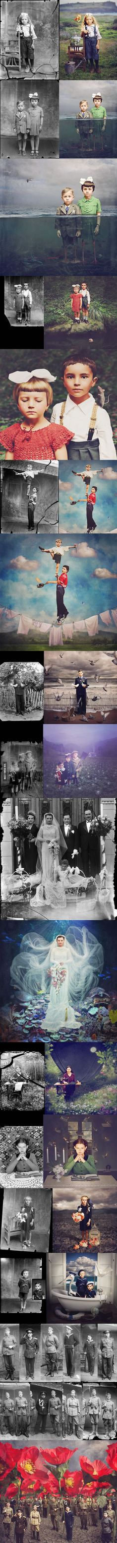 Artist colorizes old photos with surreal twists (by Jane Long) - poetic view Photomontage, Creative Photography, Art Photography, Montage Photography, School Photography, Conceptual Photography, Photography Editing, Artistic Photography, Atelier Photo