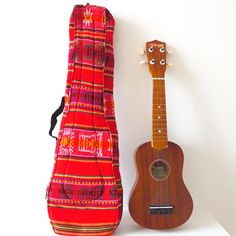 Ukelele Case Soft Red Tribal Fabric Standard by sweetllamasupplies, 28.00