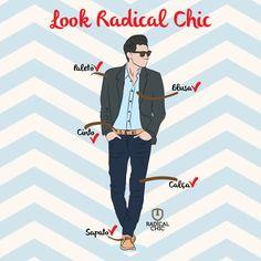 Paletó ✔ Blusa ✔ Cinto ✔ Calça ✔ Sapato ✔ Está faltando algum item no seu guarda-roupas? Complete com o Look Radical Chic, roupas e calçados das melhores marcas. #RadicalChic #LookRadical #ModaMasculina #Estilo
