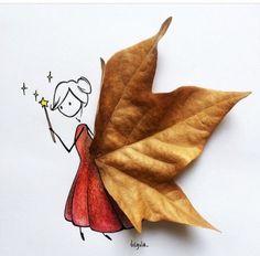 Daddy's Precious Princess — charmolypi: Art by Virgola Autumn Crafts, Fall Crafts For Kids, Nature Crafts, Art For Kids, Leaf Crafts, Leaf Art, Art Plastique, Cute Art, Creative Art
