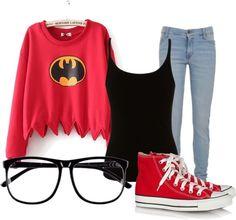 For those batman lovers 🌚 Hockey Outfits, Batman Outfits, Outfits With Converse, Disney Outfits, Outfits For Teens, Cool Outfits, Casual Outfits, Super Hero Shirts, Super Hero Outfits