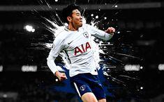 Download wallpapers Son Heung-min, 4k, art, creative art, Tottenham Hotspur, South Korean football player, splashes of paint, grunge art, Premier League, England