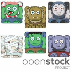 Free 2d #GameCharacters - cube #Monster characters. Zombie character, Mummy Character, Vampire, Ogre. Easy game dynamics. Editable vectors & individual PNGs included. Free 2D Game Characters available on www.OpenStockProject.com