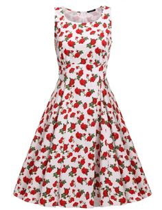 Sleeveless Floral Sundress High Waist Pleated Party Dress