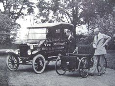 """Henry Ford posing with his first car (the 1896 quadricycle) and the 10 millionth Model T Ford. This photograph was taken during the celebrations for the 30th anniversary of the Ford Motor Company."" On September 27, 1908, the first Model T automobile was produced. This engineering achievement was due to the vision, ingenuity and risk-taking of Henry Ford. His innovation of assembly line production would make the automobile affordable to the average person."