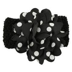 Gorgeous polka dot flower headband in black. (One size) £1.49