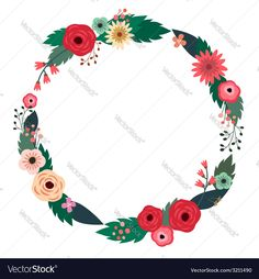 Floral wreath with roses. Download a Free Preview or High Quality Adobe Illustrator Ai, EPS, PDF and High Resolution JPEG versions.