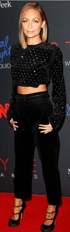 Satin mary jane pumps, black pants, and crystal long sleeve top
