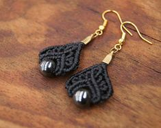 Hematite Macrame Drop Earrings