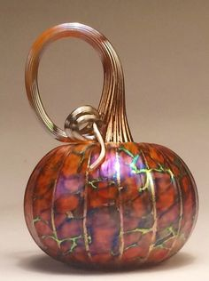 Jack Pine Hand Blown Glass Pumpkin Small Auburn and Gold (50134)
