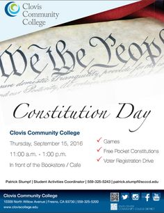 Join us for a celebration of Constitution Day on 9/15 from 11:00 a.m. to 1:00 p.m. We'll be near the Bookstore/Cafe.Enjoy games, free pocket Constitutions, and a Voter Registration Drive! #ConstitutionDay #College