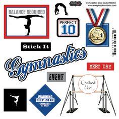 Scrapbook Customs - Sports Pride Collection - Doo Dads - Self Adhesive Metal Badges - Gymnastics at Scrapbook.com