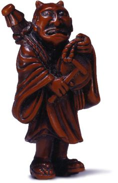 unsigned wood netsuke 18th century repentant oni and gong