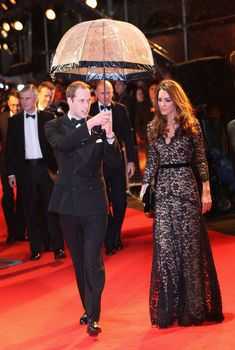 Kate Middleton Evening Dress - Kate Middleton wore a lacy evening dress with a fitted bodice that reminded us of her McQueen wedding gown at the 'War Horse' UK premiere.