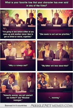 "The cast of Harry Potter discussing their favorite lines. Oh George...""Whys is it always me"" and ""Morning"""